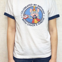 "80s 1980s  1982 ""I celebrated my birthday with Chuck E. Cheese"" vintage tee shirt tshirt TE43048"