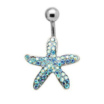 New Charming Dangle Crystal Navel Belly Ring Bling Barbell Button Ring Piercing Body Jewelry = 4804936196