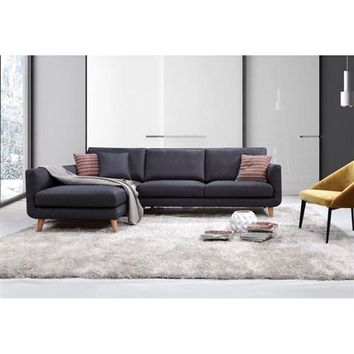 """Niles"" Mid-Century Modern MCM Sectional Sofa in Blue-Grey Linen"