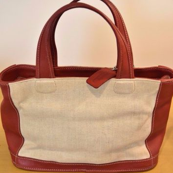 VTG *COACH* Bleeker 6121 Red Leather Canvas Tote Purse Bag MADE IN USA