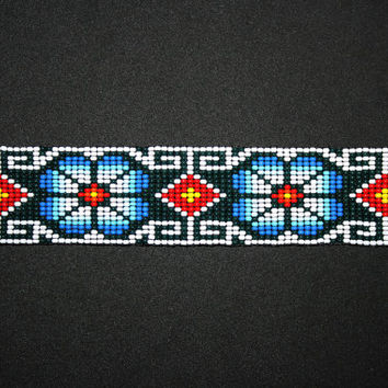 Ethnic Huichol Bracelet - Beaded Huichol Bracelet - Peyote Flower Mayan Art - Tribal Bracelet - Native American Beaded Bracelet Hippie Folk
