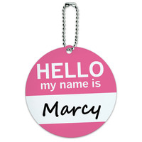 Marcy Hello My Name Is Round ID Card Luggage Tag