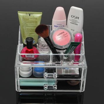 Clear Acrylic Cosmetic Organizer Makeup Brushes Table Neat Holder Drawer