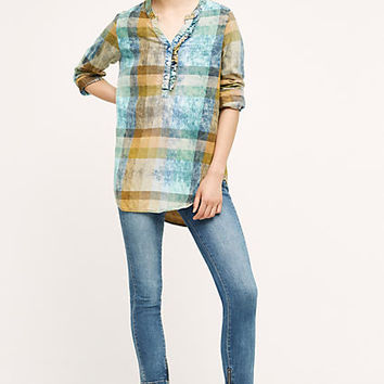 Ruffled Plaid Henley
