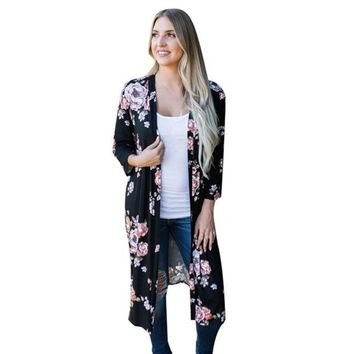 ONETOW Long Kimono Oversized Shawl 3 Colors Floral Print Cardigan