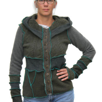 Sweater Jacket, Hoodie, Upcycled, Recycled Sweaters