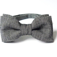 Men's Bow Tie by BartekDesign: pre tied herringbone gray grey wool informal wedding proms grooms