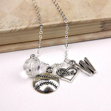 Personalized Softball Necklace with Your Initial and Birthstone - SP25