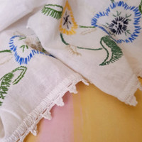 Vintage Table Runner Hand Embroidered Yellow and Blue Flowers Crochet Borders Shabby Chic/ Country Chic / Vintage Linens / Vintage Kitchen - Edit Listing - Etsy