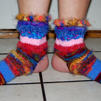 OOAK Stunning Art to Wear knitted Yoga Dance Gypsy Hippie Workout Toeless Heelless Socks