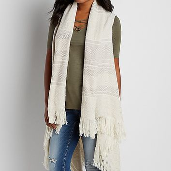 knit vest with fringe and raw edges | maurices