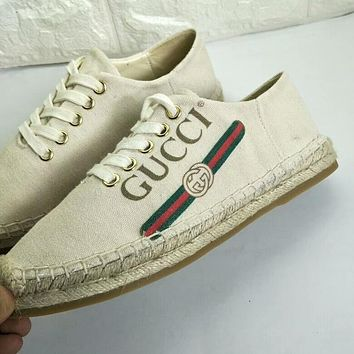 GUCCI Fashion Women Casual Letter Print Comfortable Breathable Shoe Sneakers Beige I-OMDP-GD