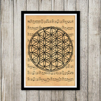Esoteric print Occult poster Old paper decor Music note print NP048