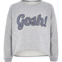 River Island Girls grey long sleeve gosh sweatshirt