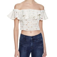 Rebecca TaylorDia Lace Off-the-Shoulder Top