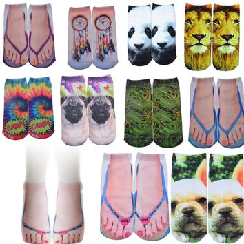 Pug Slippers Lion Panda Hamster Tie Dye Dream Ankle Socks Funny Crazy Cool Novelty Cute Fun Funky Colorful