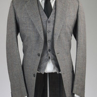 Vintage Gray Check/Plaid TWEED Wool 3 Piece Suit 40 L
