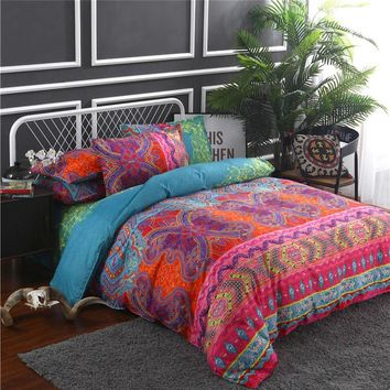 Indian Style Bedding Set Soft Comfortable Queen King Size Duvet Cover With Pillowcase Bed Set Home Textile