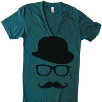 Unisex Mustache Hat Wayfarer Deep V Neck T Shirt - American Apparel Vneck Tshirt - XS S M L XL (15 Color Options)