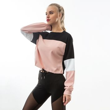Running Shirts Fitness Women Long Sleeve Sweatshirt Crop Top Yoga Shirt Patchwork Sports Shirts Gym Shirt Workout Sport Clothing