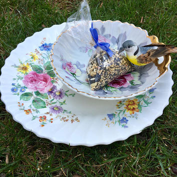 Repurposed Vintage Tiered Dish, Centerpiece Dish, Candy Dish, Jewelry Trinket Dish, Upcycled Bird Feeder, Recycled Garden Plate, Floral Dish