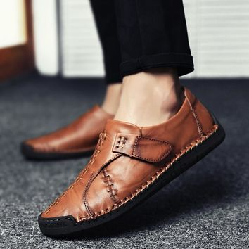 2019 Fashion Genuine Leather Men's Shoes Casual Big Size 38-46 Holes Loafer Design Driving Men Flat Footwear Handmade Shoes