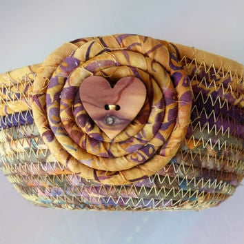 Small Coiled Rope Basket - Handmade in Gold Purple Batik