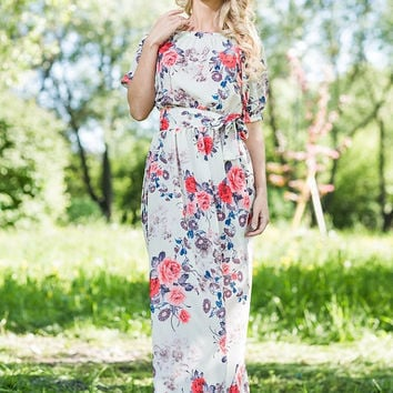 Summer Maxi Dress 100% Viscose  /   Designer summer dress. Floral print.  White dress. Beach dress. Plus size available, off shoulder