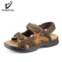 VESONAL 2019 Summer New Genuine Leather Shoes Men Sandals For Male Casual Classic Out door Water Walking Beach Sandalias Sandal