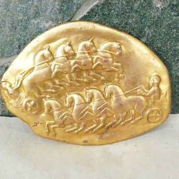 "Collectibles Antique Art  Brass a Fragment of a gold jug - ""Thracian chariots"". Collector's! Brass Plaque"