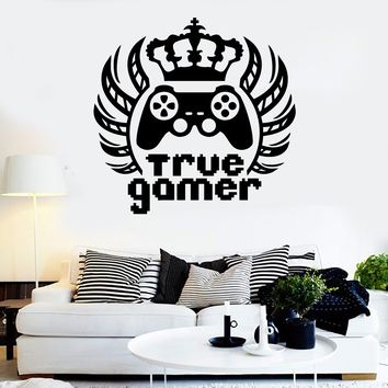 Vinyl Wall Decal True Gamer King Video Game Teen Room Stickers Unique Gift (ig3970)
