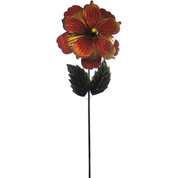 Home & Garden GIANT FLOWER STAKE GOLD Metal Textured Hand Painted 11222.