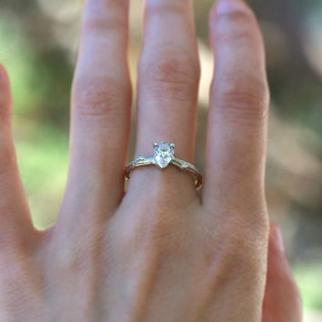 Moissanite Pear Twig Engagement Ring - 14k white gold -  Women organic wedding band