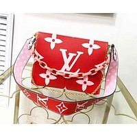 Louis Vuitton LV Popular Women Leather Satchel Crossbody Handbag Shoulder Bag Pink&Red