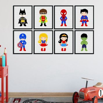 Superhero Wall Art Canvas Print and Poster Boys Bedroom Decor , Superhero Nursery Decor Canvas Painting Wall Picture Baby Boy