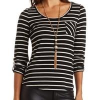 Striped Tab Sleeve Pocket Tee by Charlotte Russe