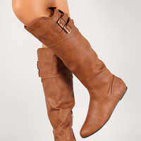 Qupid Proud-25 Double Buckle Hidden Wedge Knee High Riding Boot