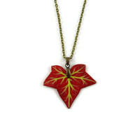 Burgundy red ivy leaf necklace, eco-friendly woodland fashion necklace, fall leaf necklace, painted plastic fancy necklace (recycled CD)