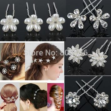 20Pcs New Crystal Diamante Rhinestone Pearl Butterfly Star Wedding Bridal Party Flower Hair Clip Hairpin Bridemaid Jewelry
