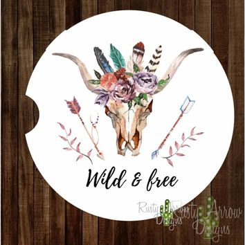 Bull Skull with Feathers and Arrows Wild and Free Sandstone Car Coaster