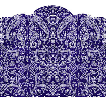 Wall Decal Headboard - Paisley - ScallopTop - Navy Blue and White - TWIN Lite