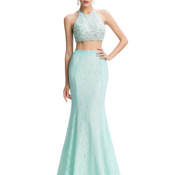 2 Piece Prom Dresses Long Pale Turquoise Sexy Backless Party Evening Gown Vestidos Rhinestone Mermaid Prom Dress Removable Skirt