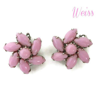 Weiss Pink Glass Earrings - Vintage Pinwheel Flower Silver Tone Clip-on Designer Signed Earrings