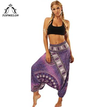 STYLEDOME TOPMELON Women Belly Dance Pants Loose Floral Printed Long Pants for Dancing Practice Yoga High Waist