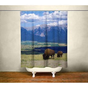 Montana Mountain Range and Bison Shower Curtain