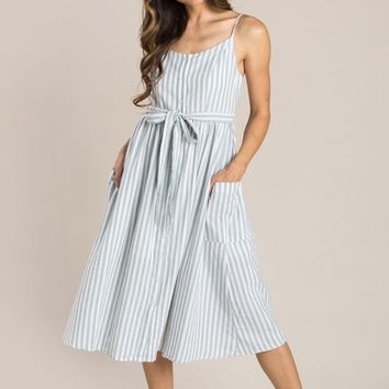 Elena Mint Green Striped Midi Dress