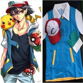 Adult Japanese Anime  Cosplay Costume Clothing Ash Ketchum Hat Cap T Shirt Gloves Halloween Costumes For Women ManKawaii Pokemon go  AT_89_9