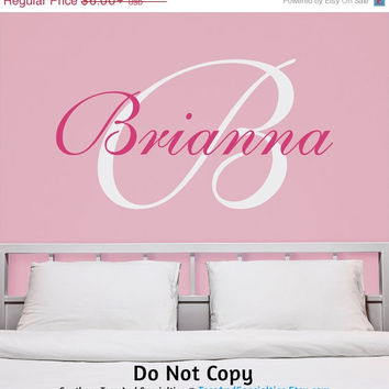 Holiday Sale: Personalized Vinyl Wall Decal Monogram Initial Custom Name Lettering Wall Words First Name Girls Bedroom Baby Nursery Cute Fem