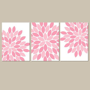 Pink Flower Wall Art, Baby Girl Nursery Decor, Pink Floral Art, Girl Bedroom Pictures, Pink Bathroom Artwork CANVAS or Prints Set of 3