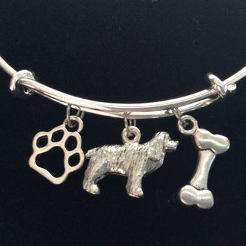 Spaniel 3D Dog Charm on a Silver Expandable Adjustable Bangle Bracelet Meaningful Dog Lover Gift